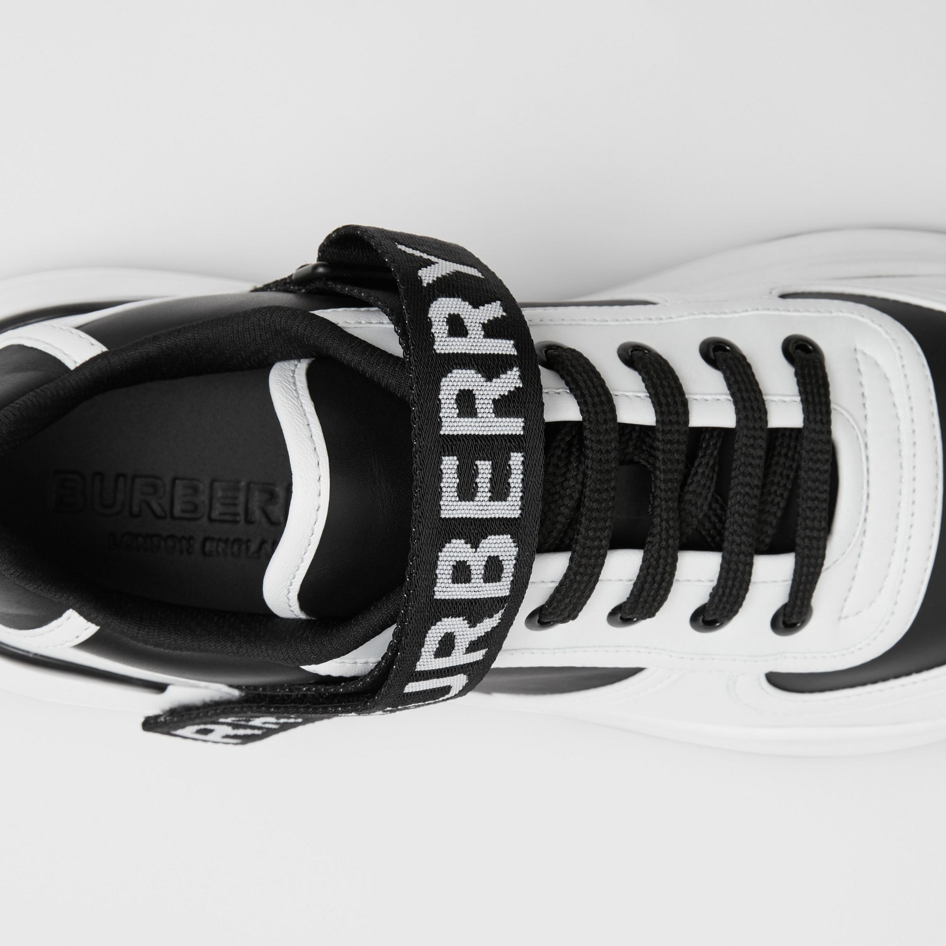 Logo Detail Leather and Nylon Sneakers in Black/optic White - Women | Burberry Singapore - gallery image 1