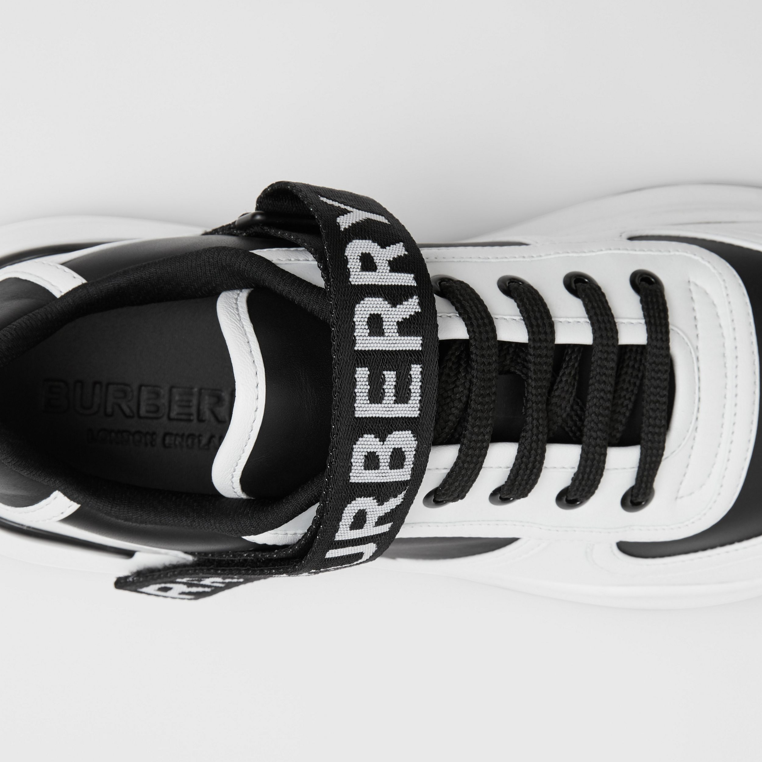 Logo Detail Leather and Nylon Sneakers in Black/optic White - Women | Burberry Canada - 2