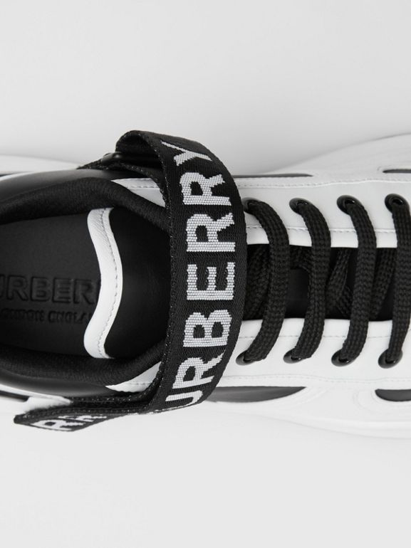 Logo Detail Leather and Nylon Sneakers in Black/optic White - Women | Burberry Singapore - cell image 1