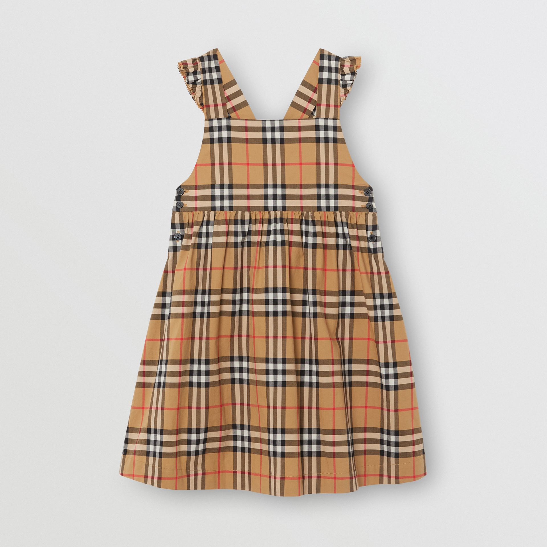 Ruffle Detail Vintage Check Cotton Dress in Antique Yellow | Burberry United States - gallery image 0