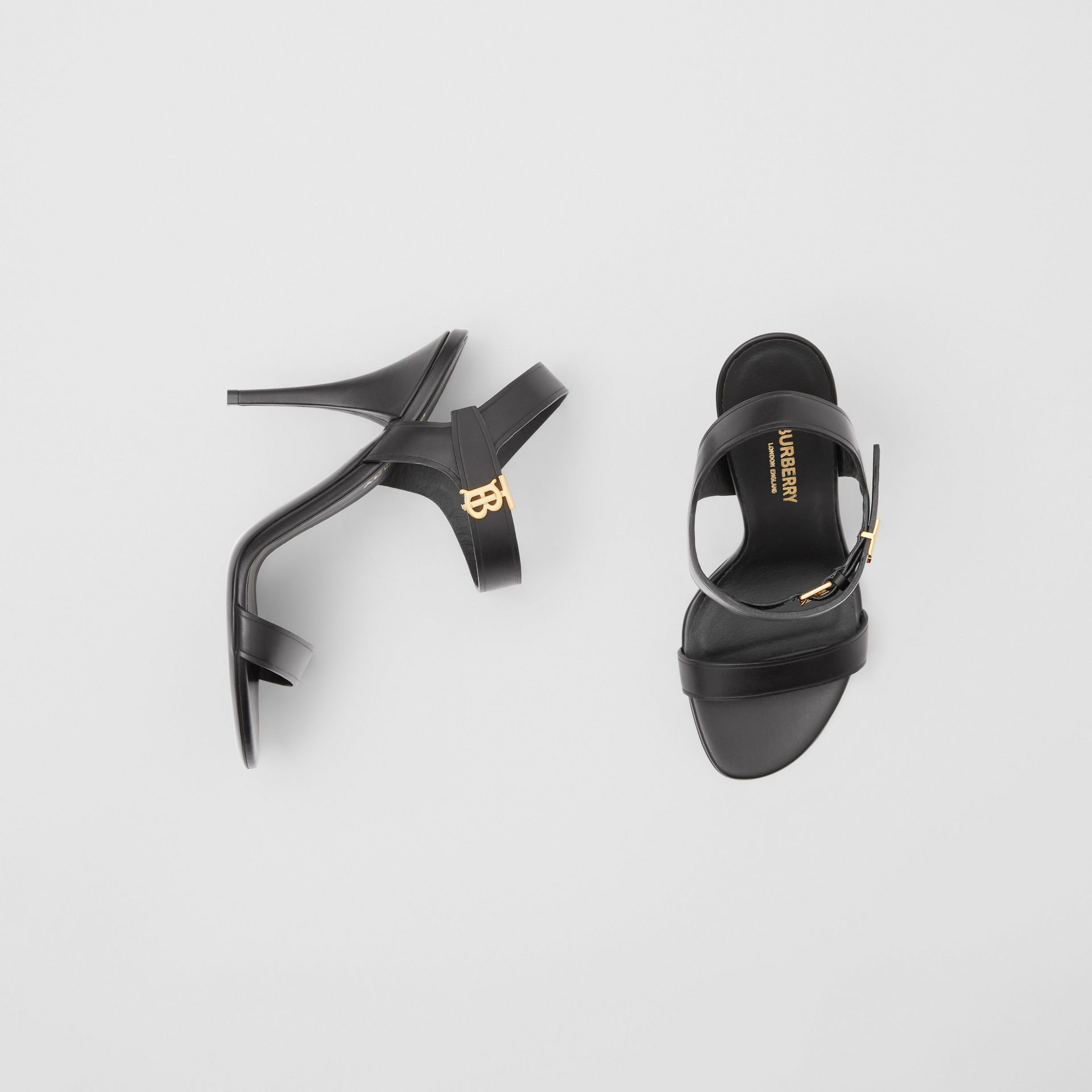 Monogram Motif Leather Sandals in Black - Women | Burberry United Kingdom - gallery image 0