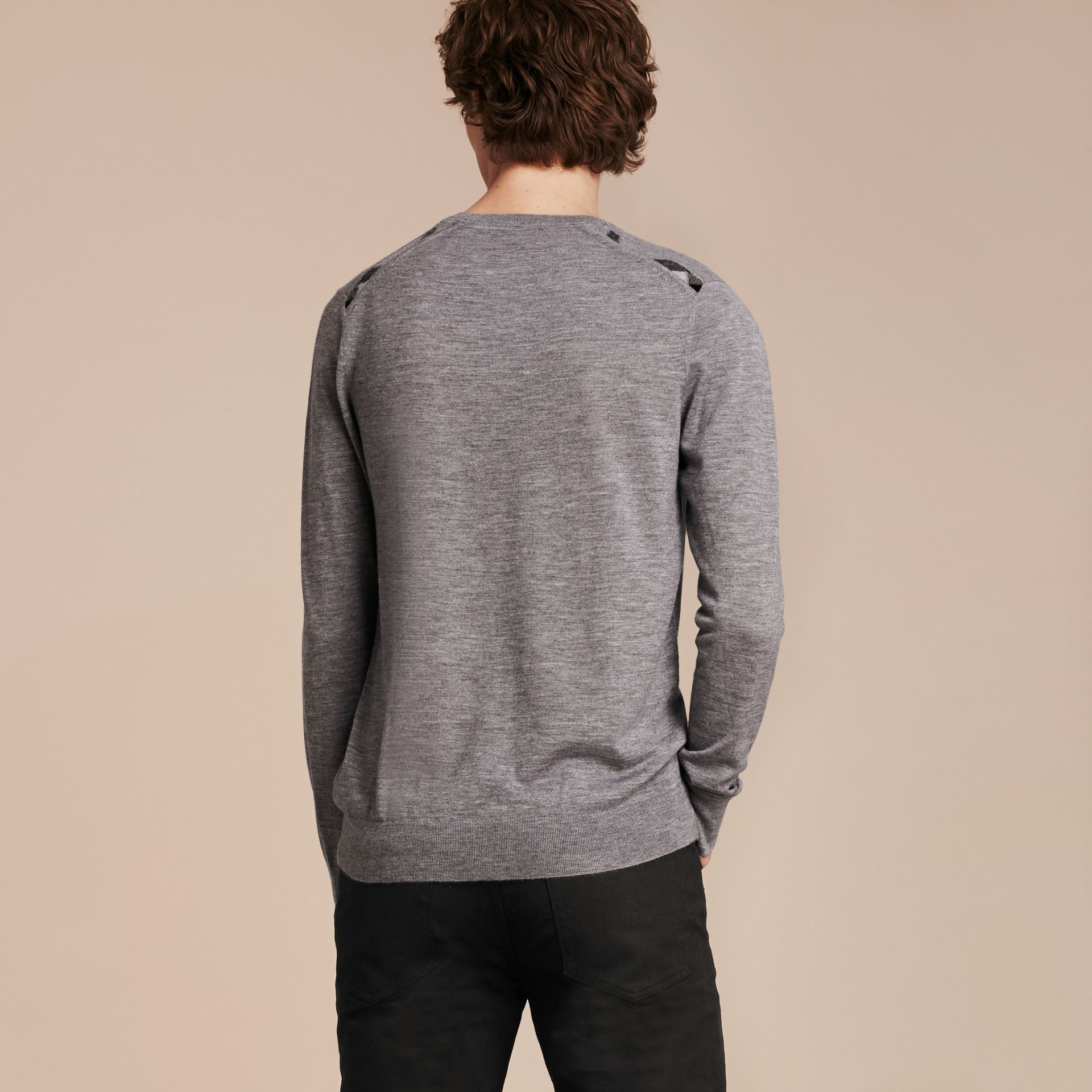 Lightweight Crew Neck Cashmere Sweater with Check Trim in Pale Grey Melange - gallery image 3