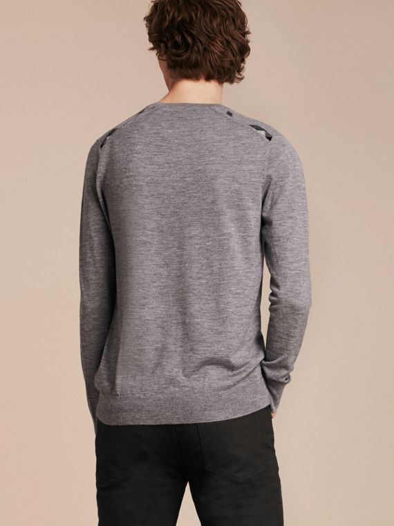Lightweight Crew Neck Cashmere Sweater with Check Trim in Pale Grey Melange - cell image 2