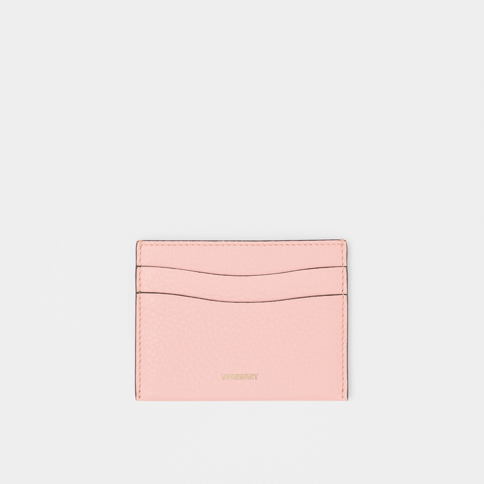 Grainy Leather Card Case in Pale Ash Rose | Burberry Australia - gallery image 0