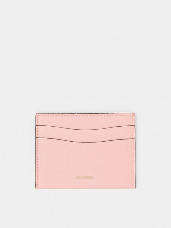Grainy Leather Card Case in Pale Ash Rose