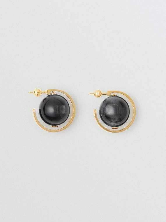 Marbled Resin Gold-plated Hoop Earrings in Light Gold/midnight