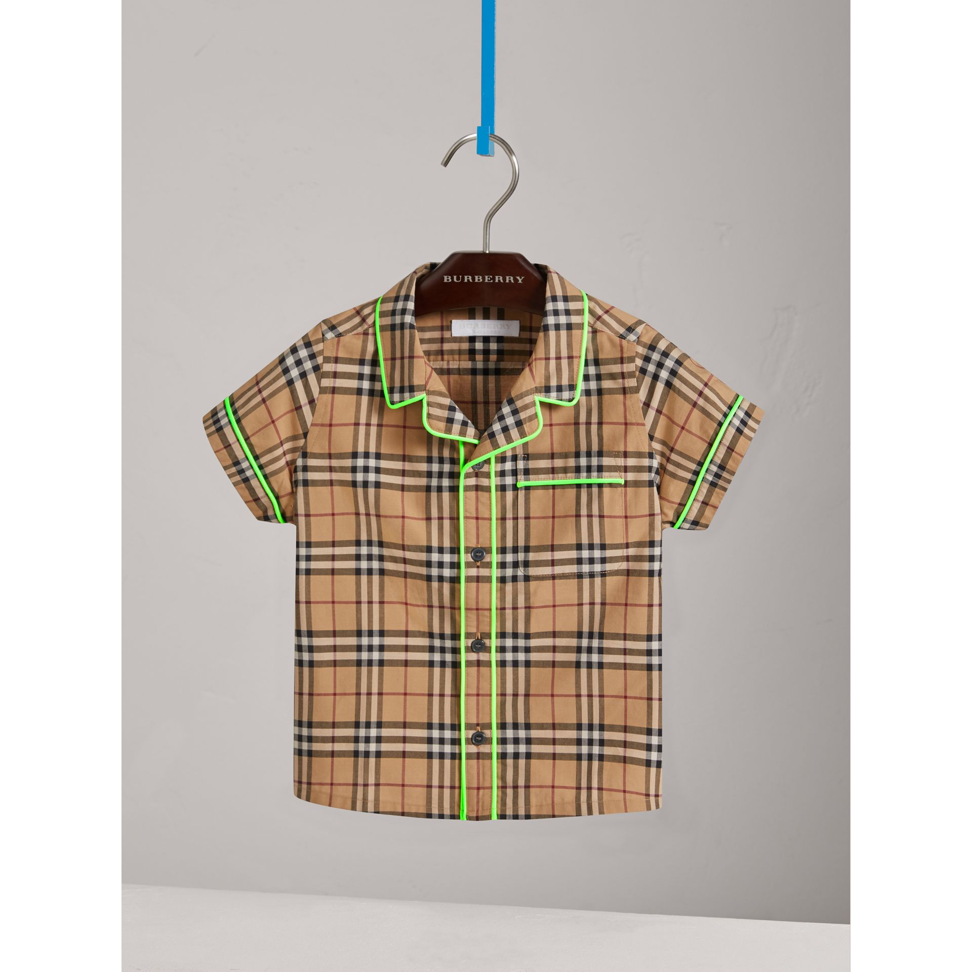 Short-sleeve Piped Check Cotton Shirt in Camel - Boy | Burberry Canada - gallery image 0