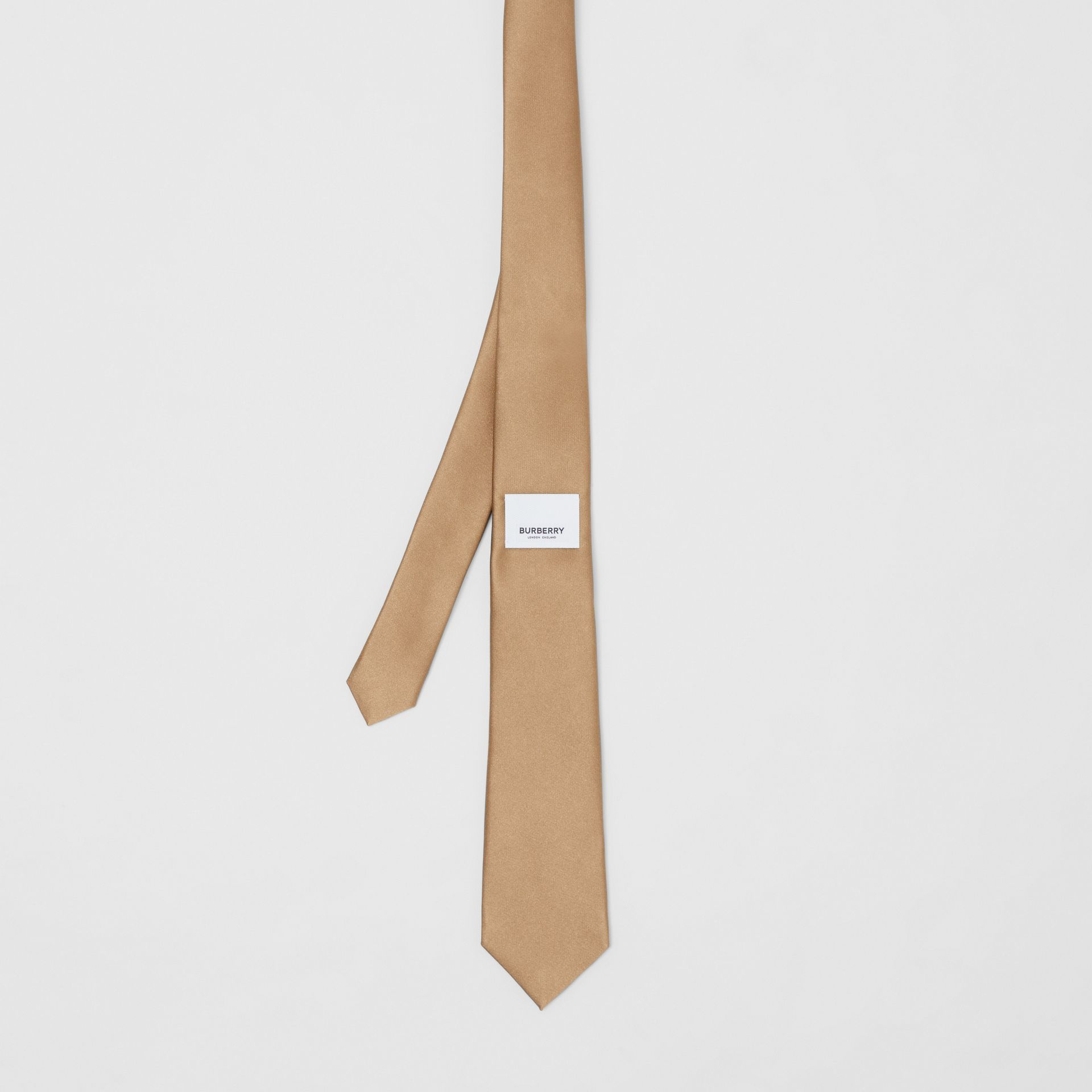 Logo Label Classic Cut Silk Tie in Light Fawn - Men | Burberry United Kingdom - gallery image 4