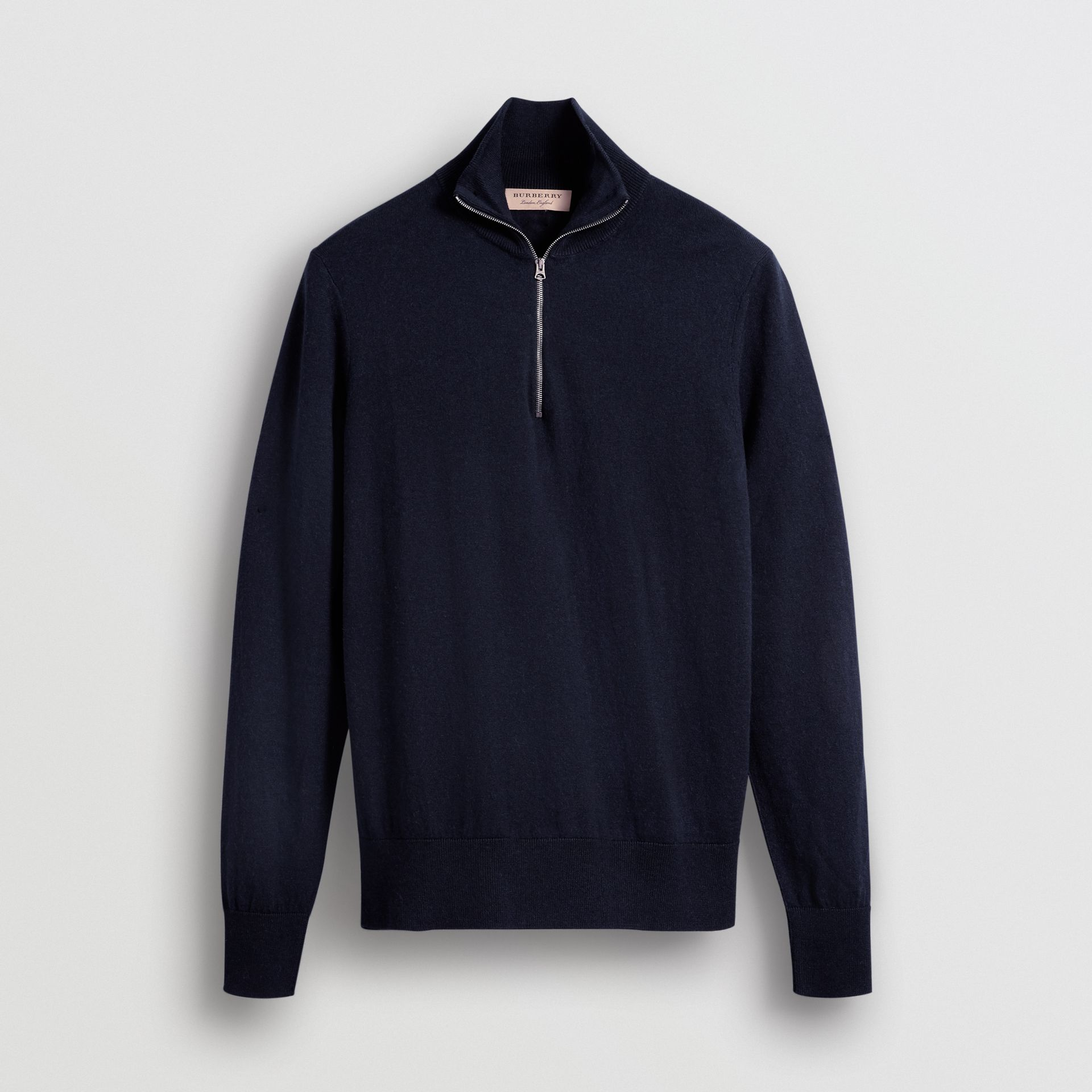 Zip-neck Cashmere Cotton Sweater in Navy - Men | Burberry Singapore - gallery image 3