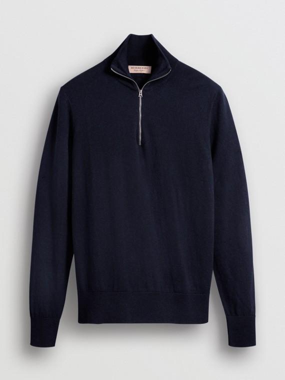 ジップネック カシミアコットン セーター (ネイビー)