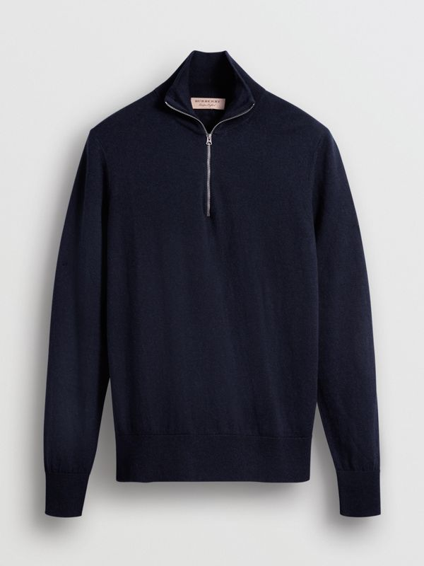 Zip-neck Cashmere Cotton Sweater in Navy - Men | Burberry - cell image 3