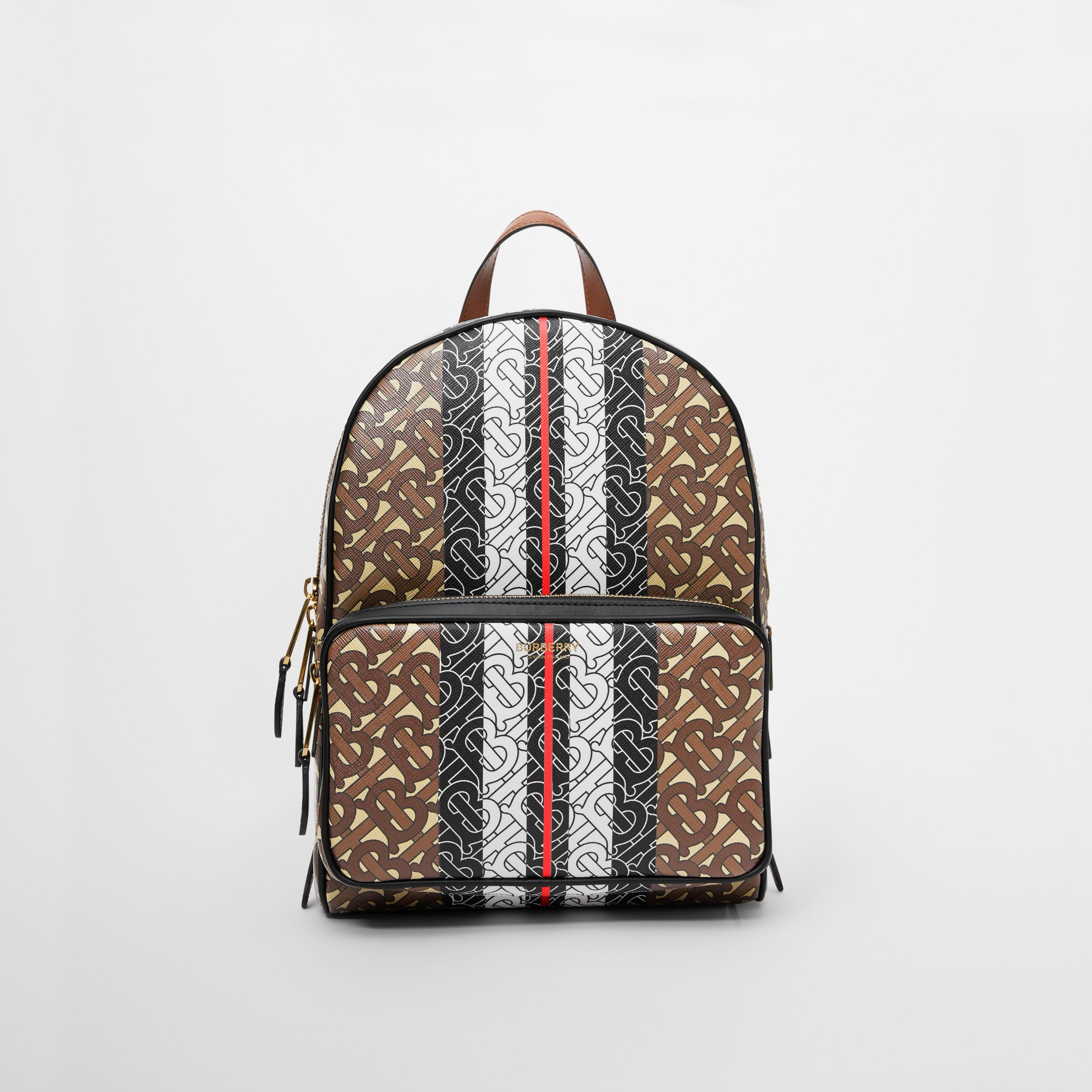 Monogram Stripe Print E-canvas Backpack in Bridle Brown | Burberry - 1