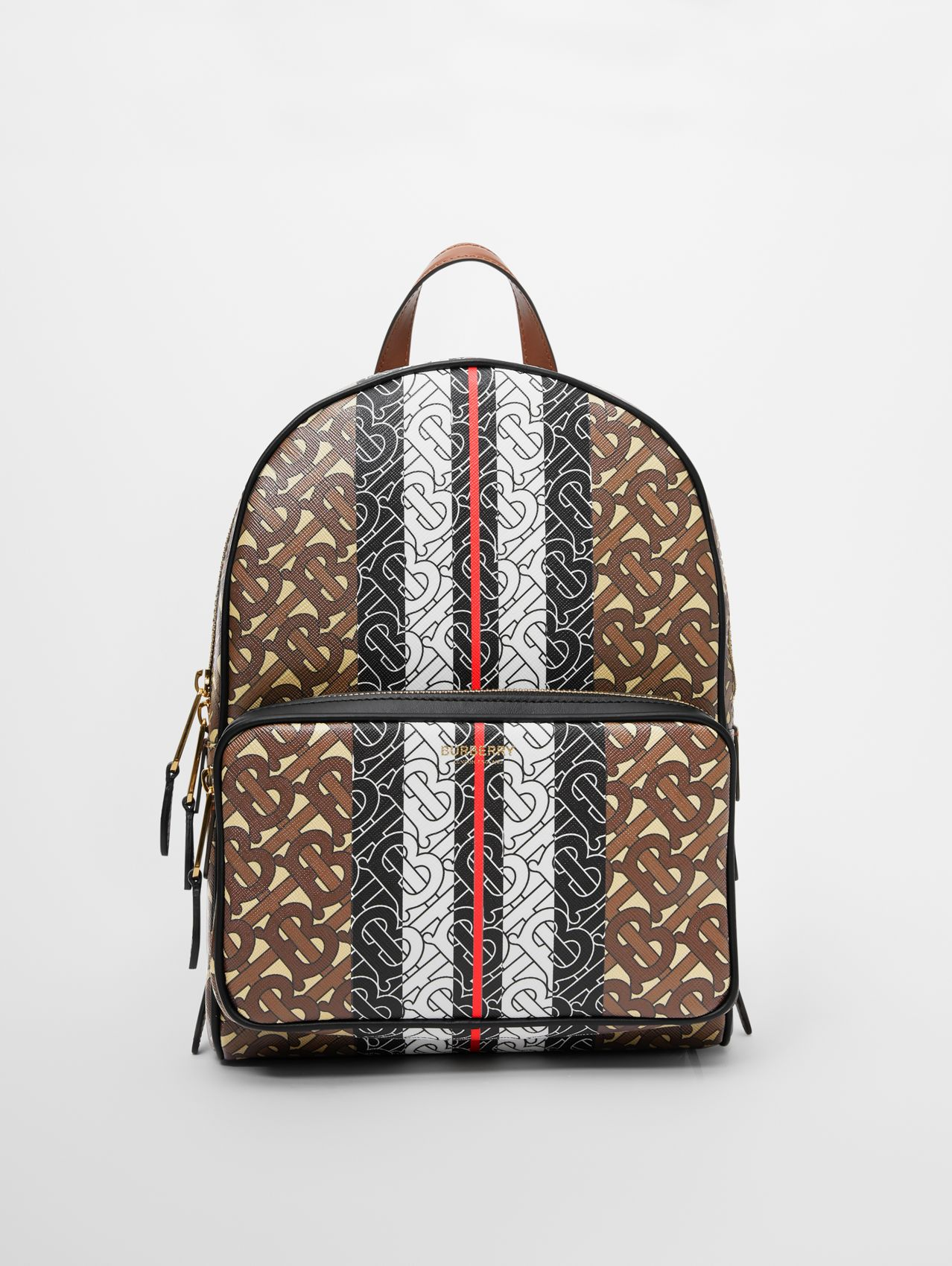 Monogram Stripe Print E-canvas Backpack in Bridle Brown