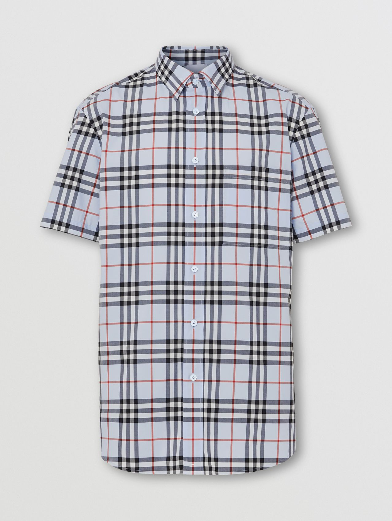 Short-sleeve Logo Appliqué Vintage Check Shirt in Pale Blue