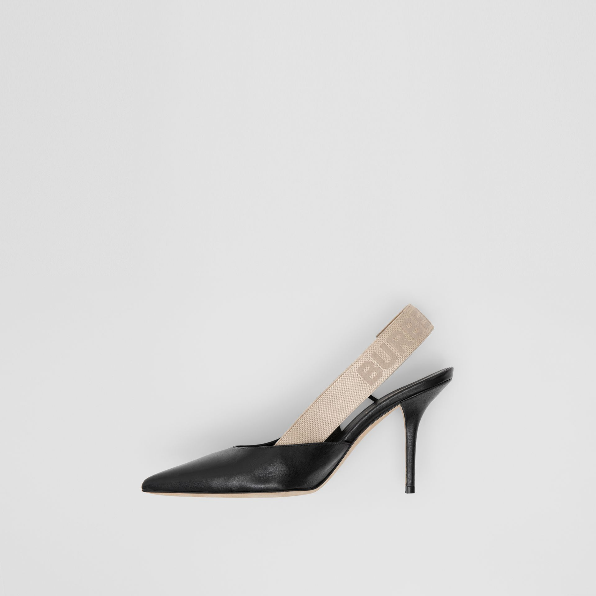 Logo Detail Lambskin Slingback Pumps in Black - Women | Burberry - gallery image 1