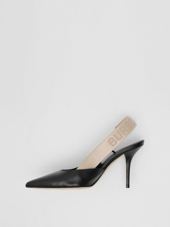 Logo Detail Lambskin Slingback Pumps in Black - Women | Burberry - cell image 1