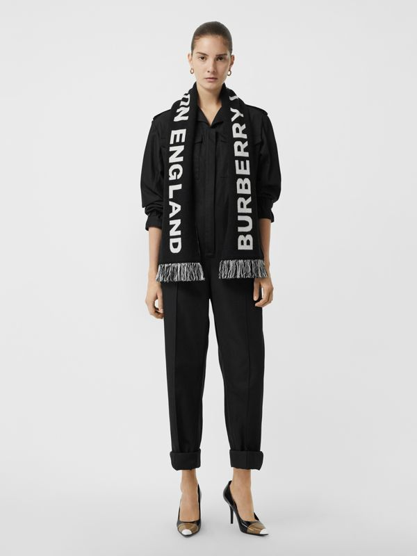 Logo Merino Wool Jacquard Scarf in Black/white | Burberry - cell image 2