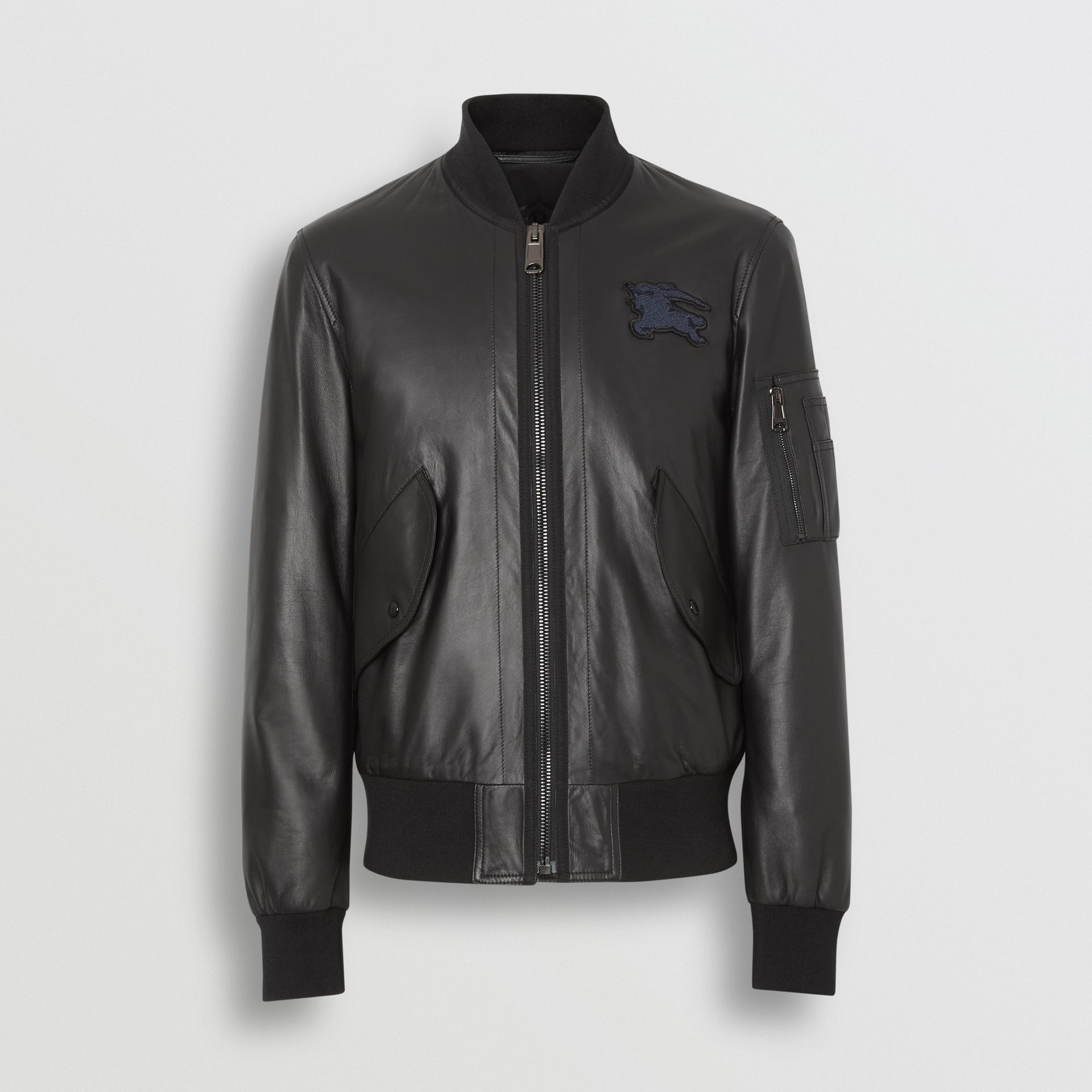 EKD Logo Lambskin Bomber Jacket in Black - Men | Burberry United Kingdom - gallery image 3