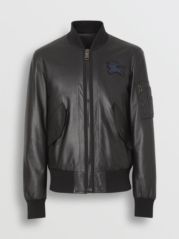 EKD Logo Lambskin Bomber Jacket in Black - Men | Burberry United Kingdom - cell image 3