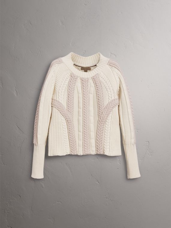 Two-tone Cable Knit Wool Cashmere Sweater in Natural White - Women | Burberry - cell image 3
