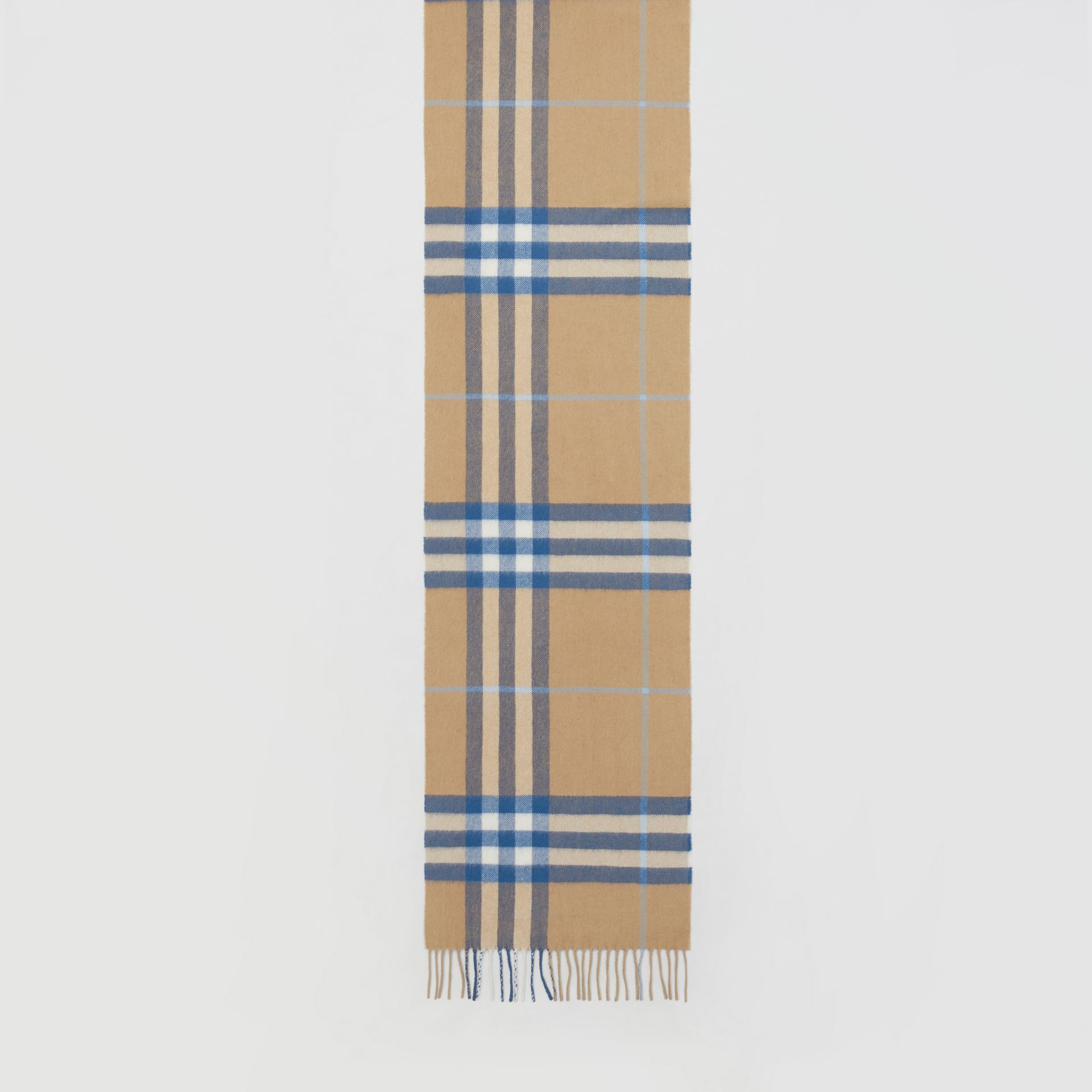 The Classic Check Cashmere Scarf in Arc Beige/inky Blue | Burberry Canada - gallery image 4