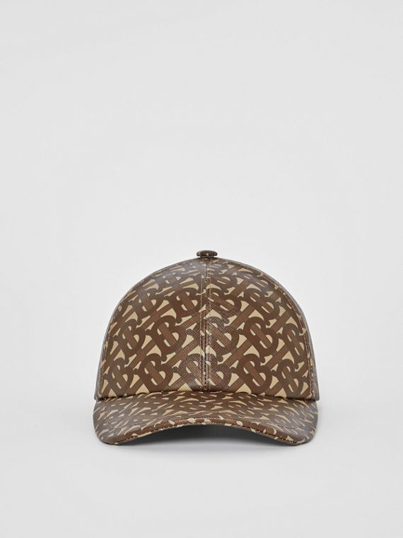 Coated Monogram Print Baseball Cap in Bridle Brown