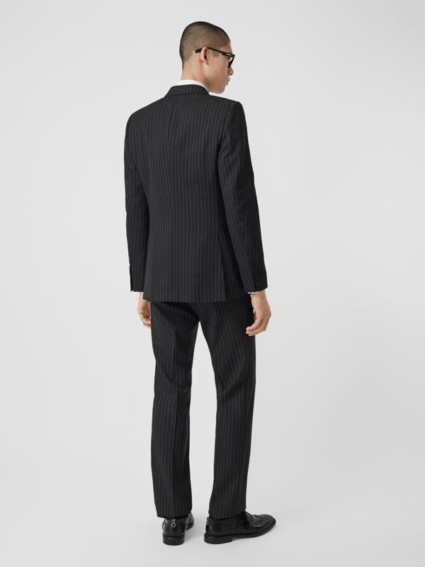 English Fit Pinstriped Wool Double-breasted Suit in Charcoal - Men | Burberry - cell image 2