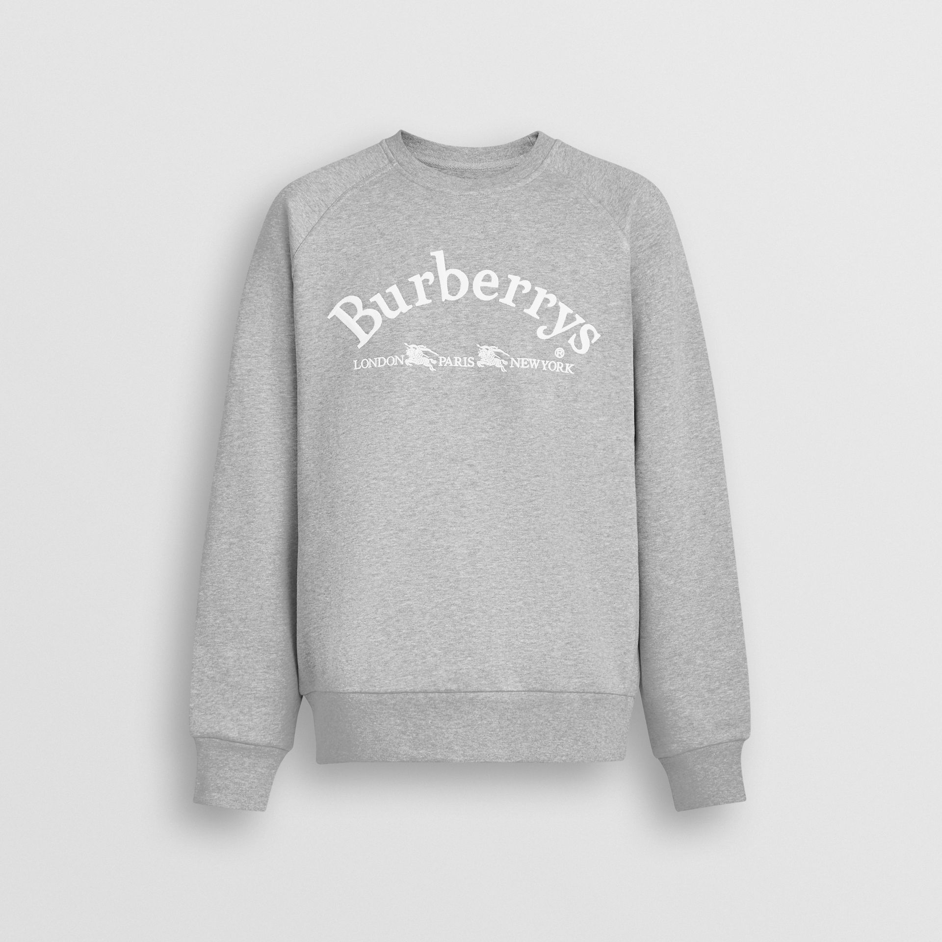 Embroidered Archive Logo Jersey Sweatshirt in Pale Grey Melange - Men | Burberry - gallery image 3