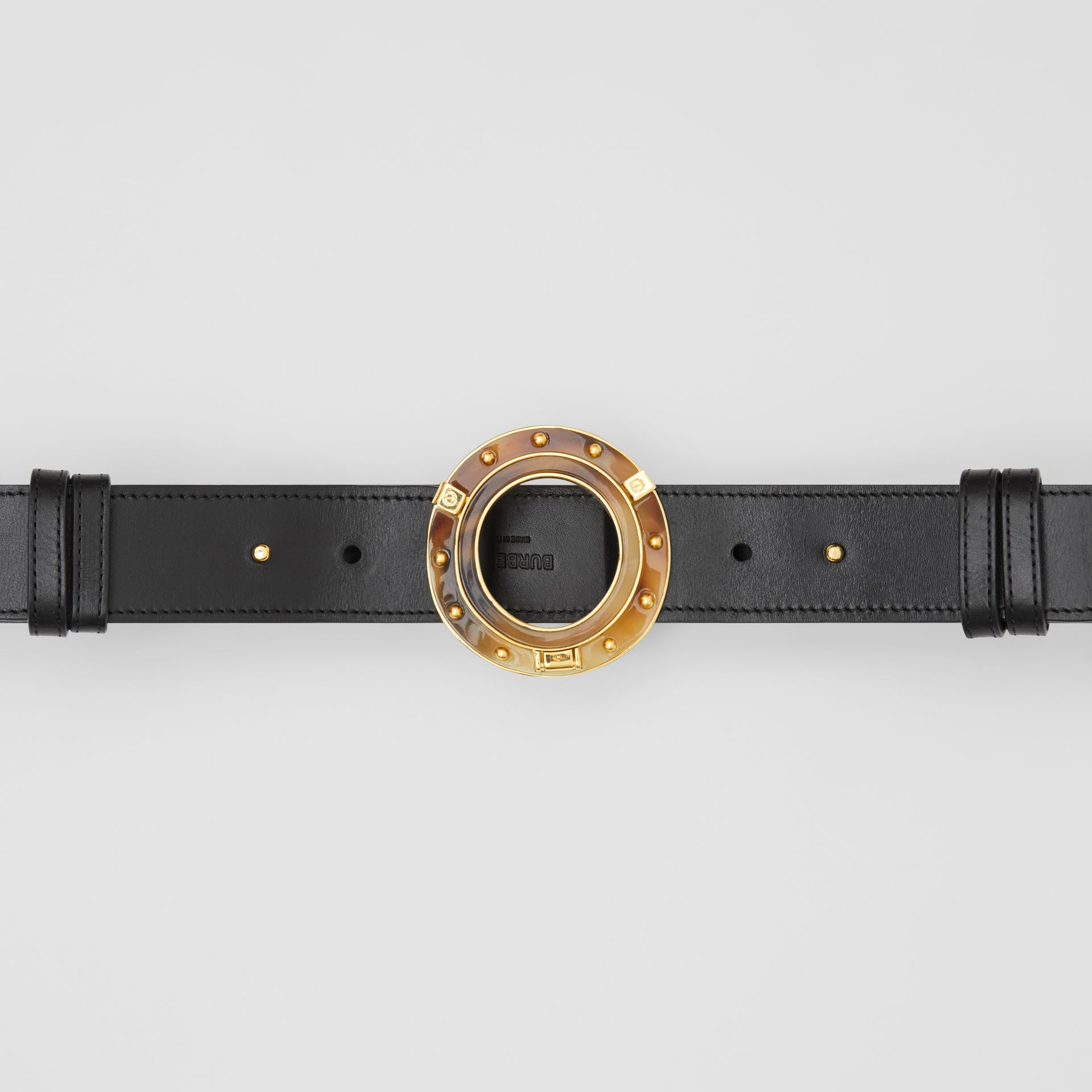 Porthole Buckle Leather Belt in Black - Women | Burberry - gallery image 5
