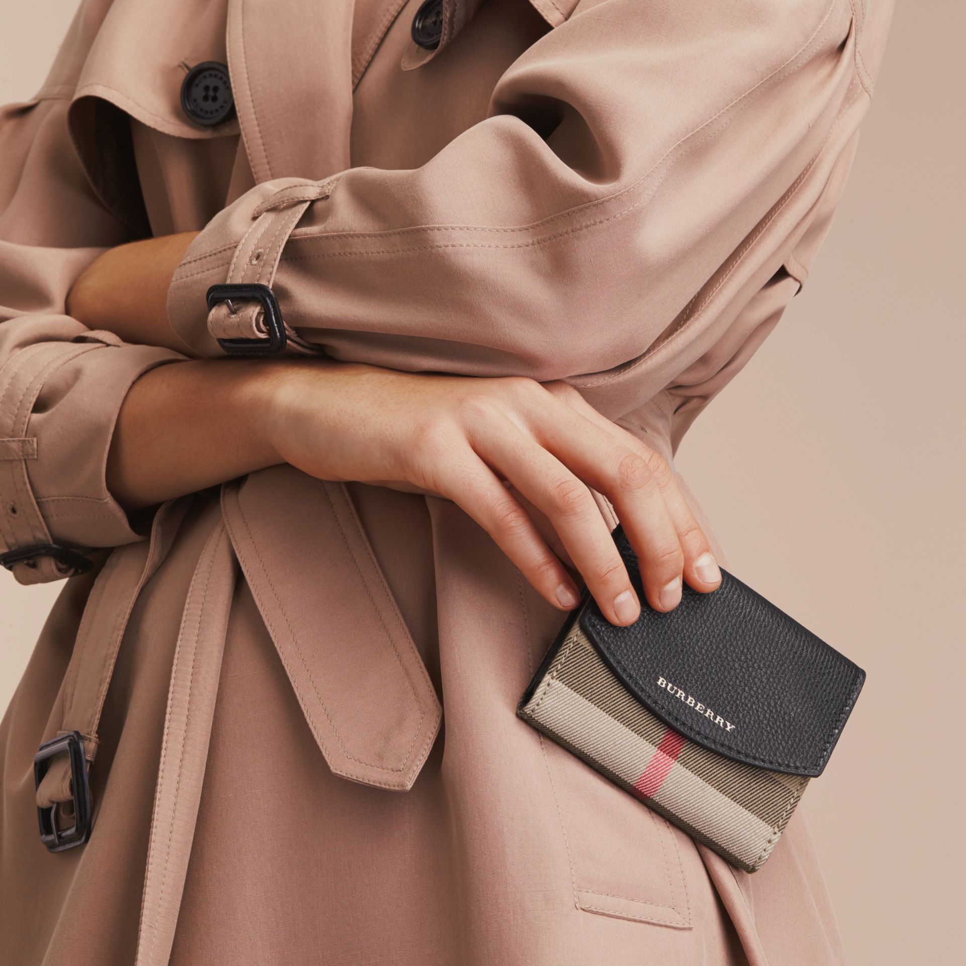 House Check and Leather Wallet in Black - Women | Burberry Singapore - gallery image 3