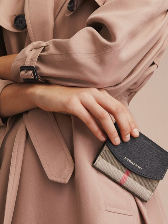 House Check and Leather Wallet in Black - Women | Burberry - cell image 2