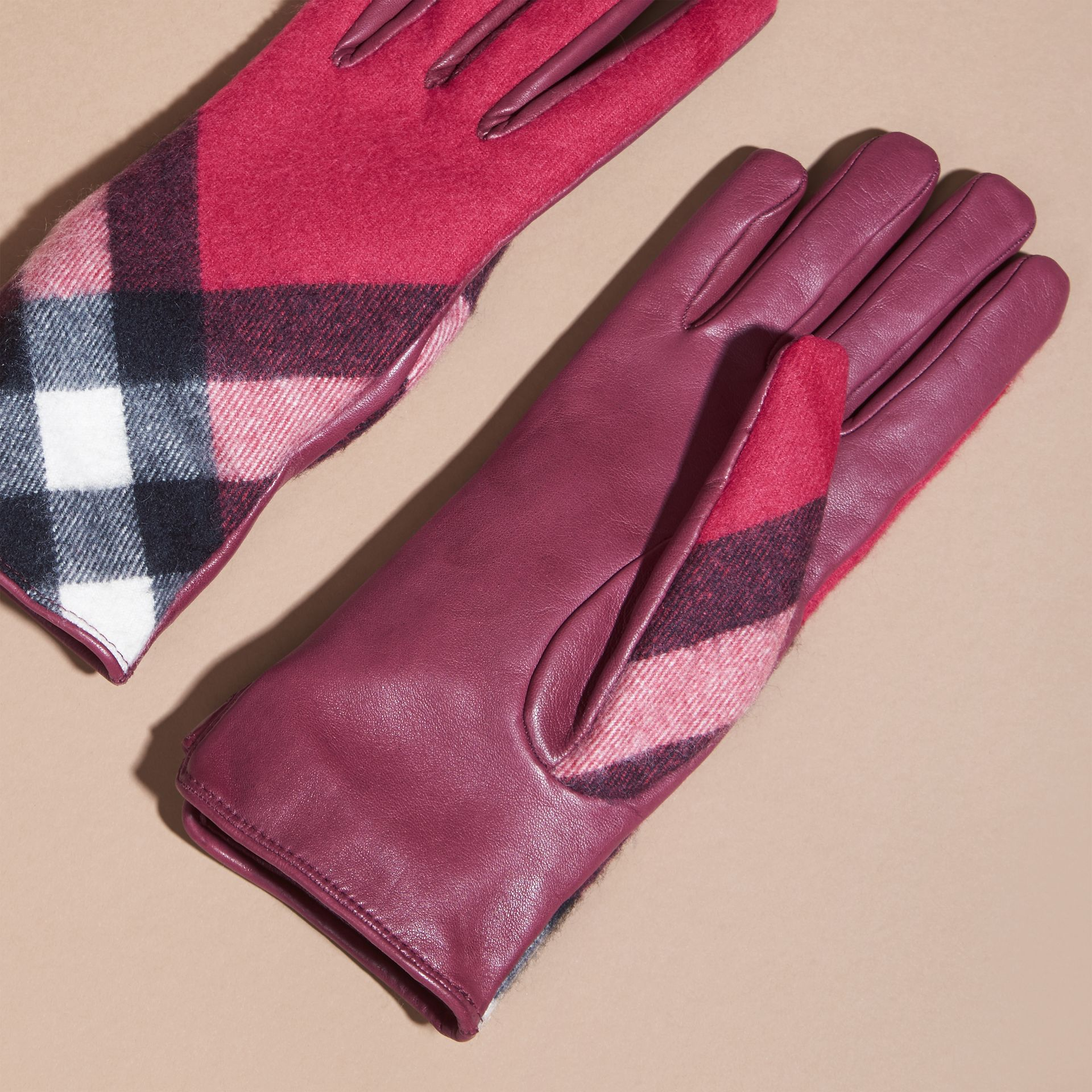 Leather and Check Cashmere Gloves Fuchsia - gallery image 3