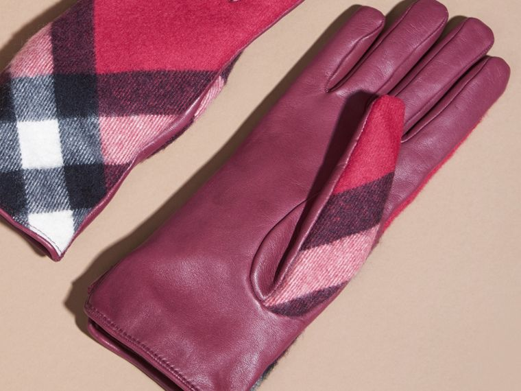 Fuchsia Leather and Check Cashmere Gloves Fuchsia - cell image 2