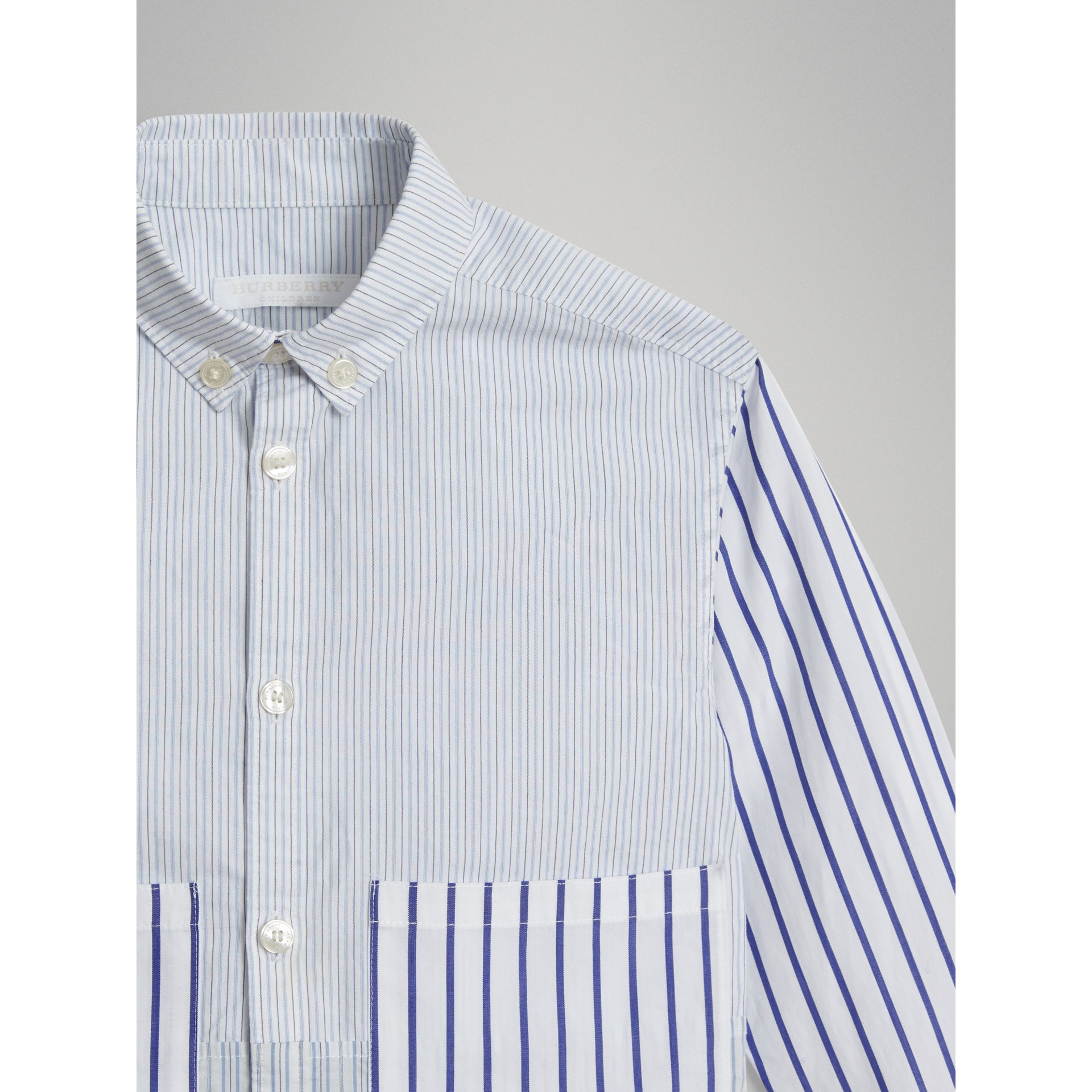 Contrast Stripe Cotton Shirt in Light Blue - Boy | Burberry - gallery image 4
