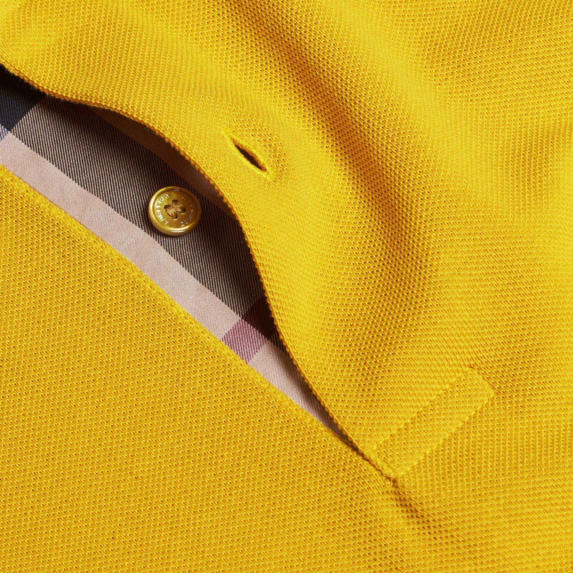 Check Placket Cotton Piqué Polo Shirt in Daffodil - gallery image 2