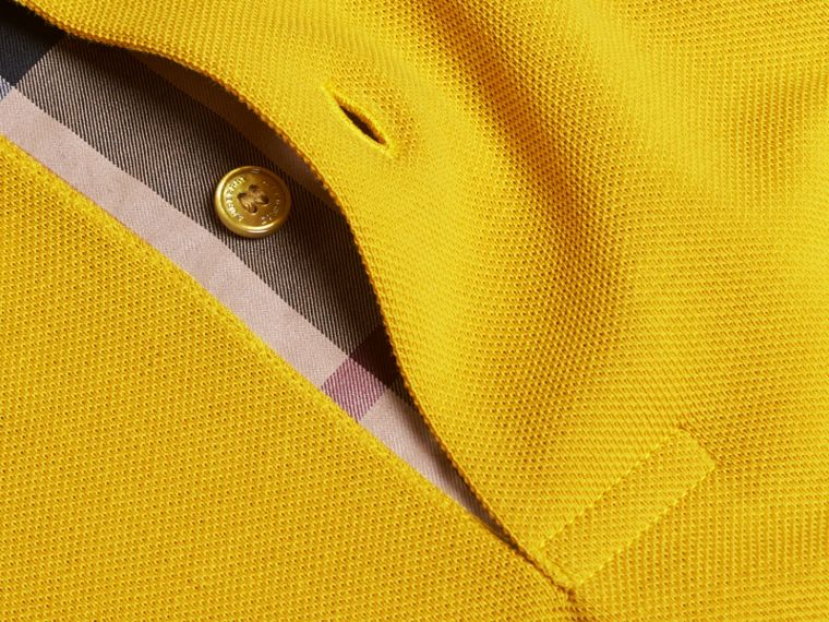 Check Placket Cotton Piqué Polo Shirt in Daffodil - cell image 1