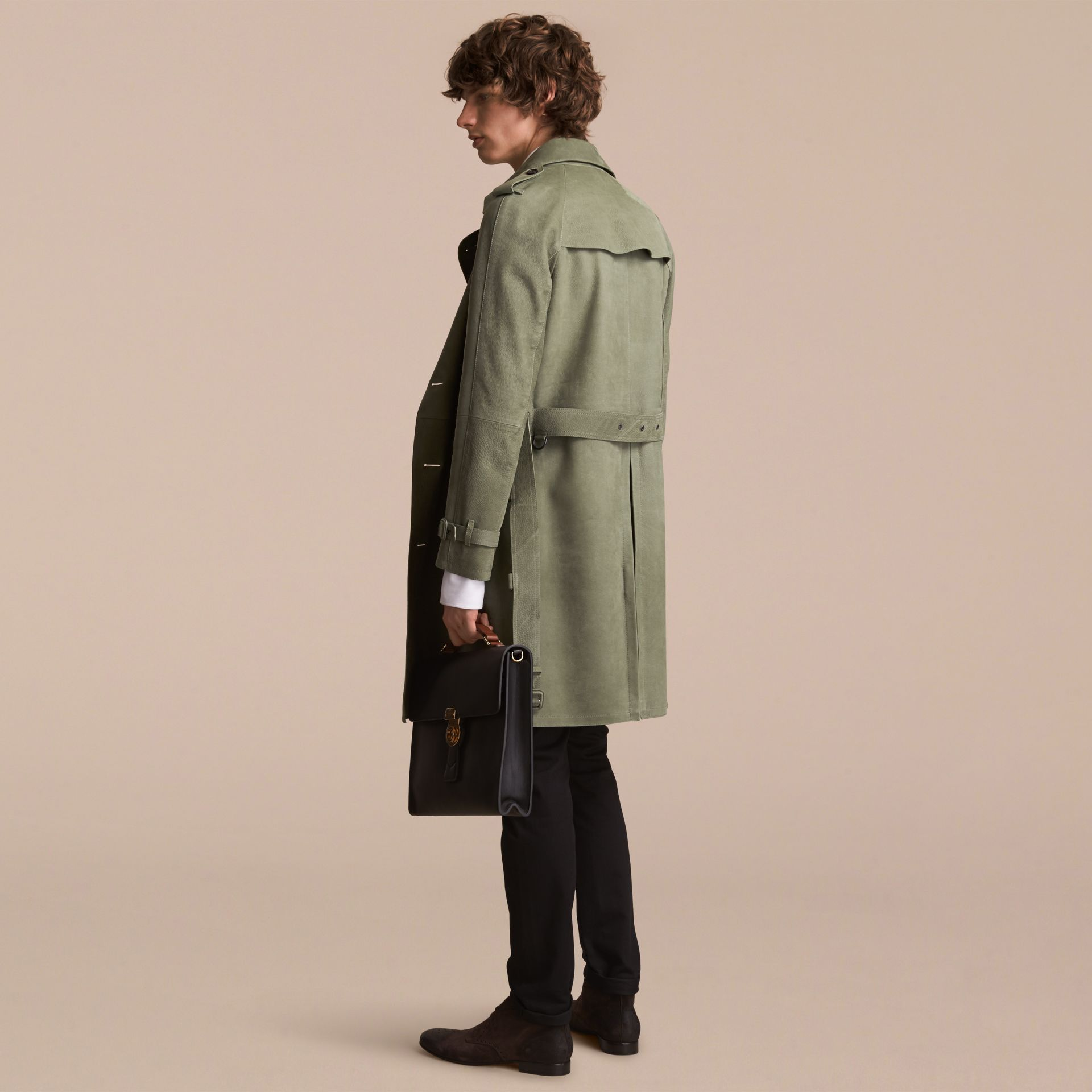 Lightweight Grainy Nubuck Trench Coat in Khaki Green - Men | Burberry - gallery image 3