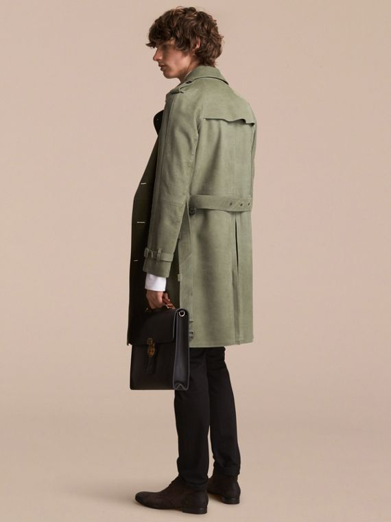 Lightweight Grainy Nubuck Trench Coat in Khaki Green - Men | Burberry - cell image 2