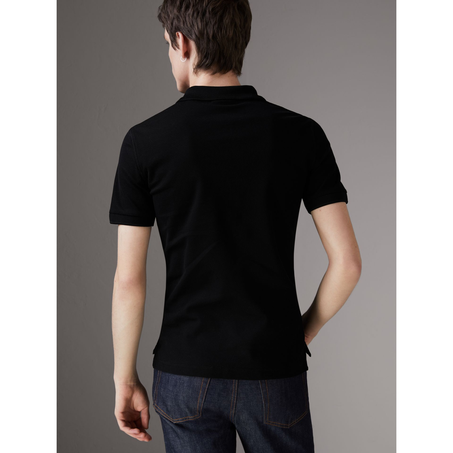 Cotton Piqué Polo Shirt in Black - Men | Burberry United Kingdom - gallery image 2