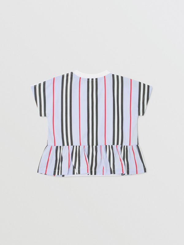 Icon Stripe Panel Cotton T-shirt in White/pale Blue - Children | Burberry - cell image 3