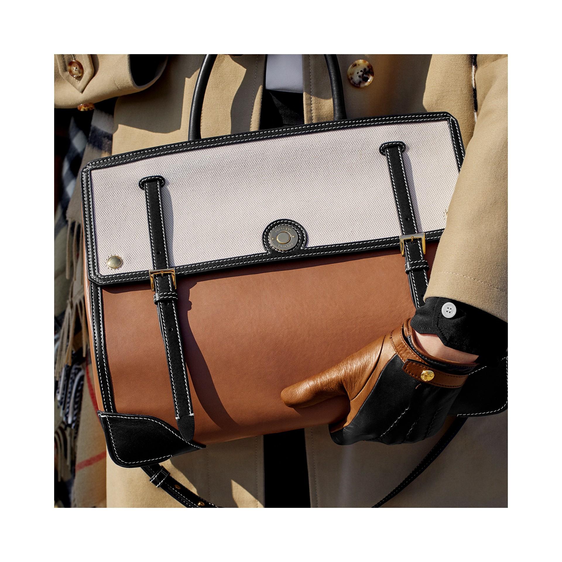 Bolsa Elizabeth de couro e lona de algodão - Média - Mulheres | Burberry - galeria de imagens 9