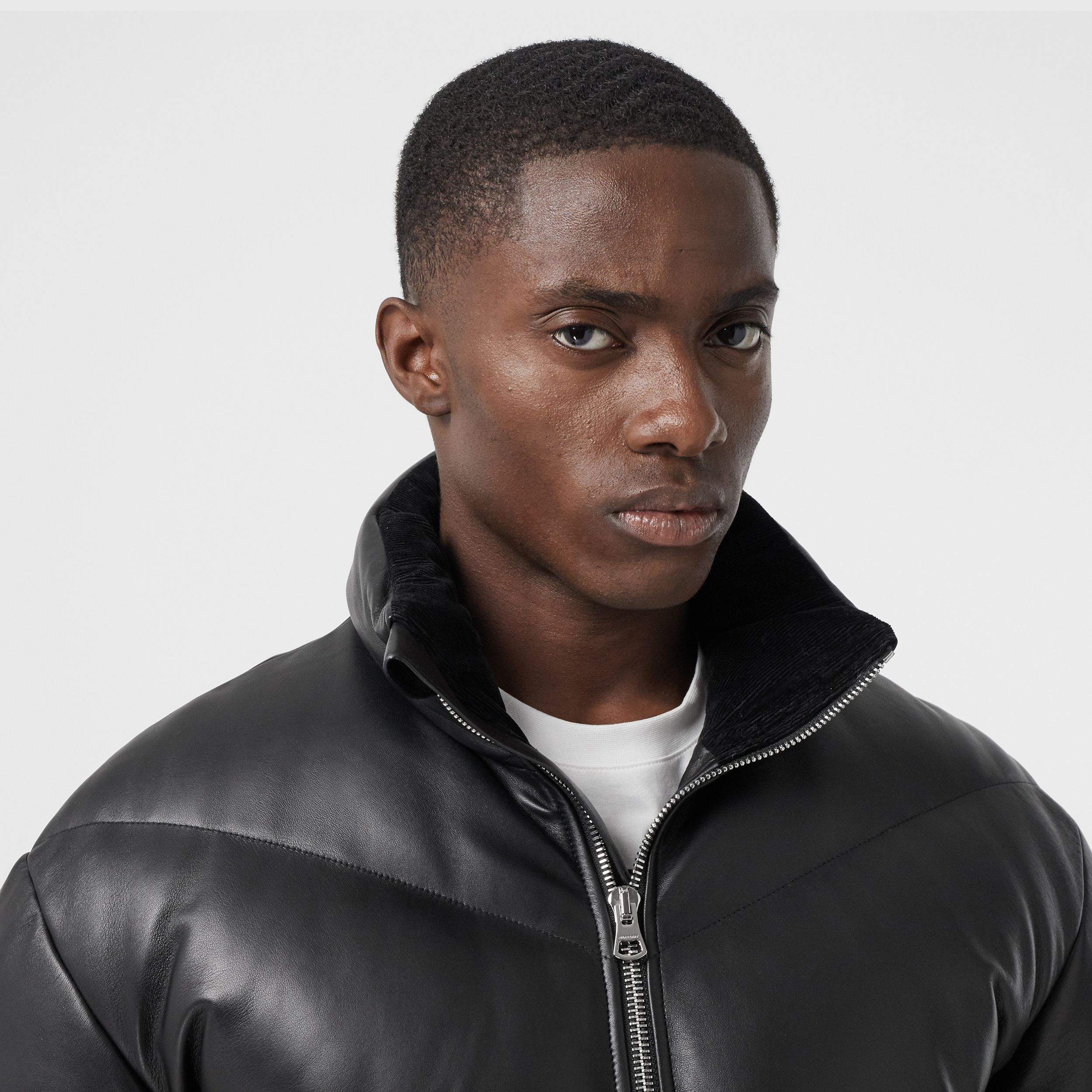 Logo Appliqué Lambskin Puffer Jacket in Black - Men | Burberry - 2