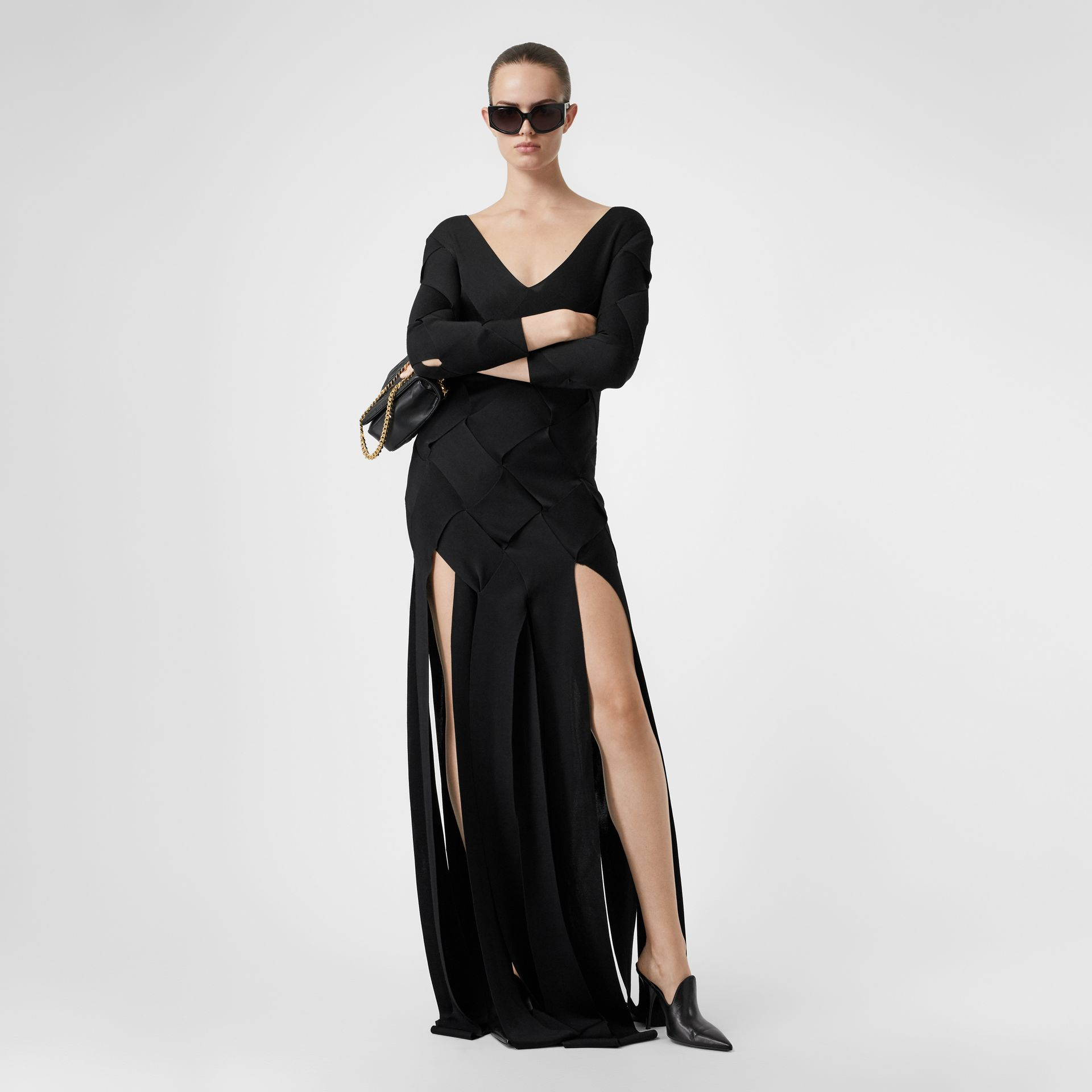 Long-sleeve Panelled Knit Gown in Black - Women | Burberry United Kingdom - gallery image 0