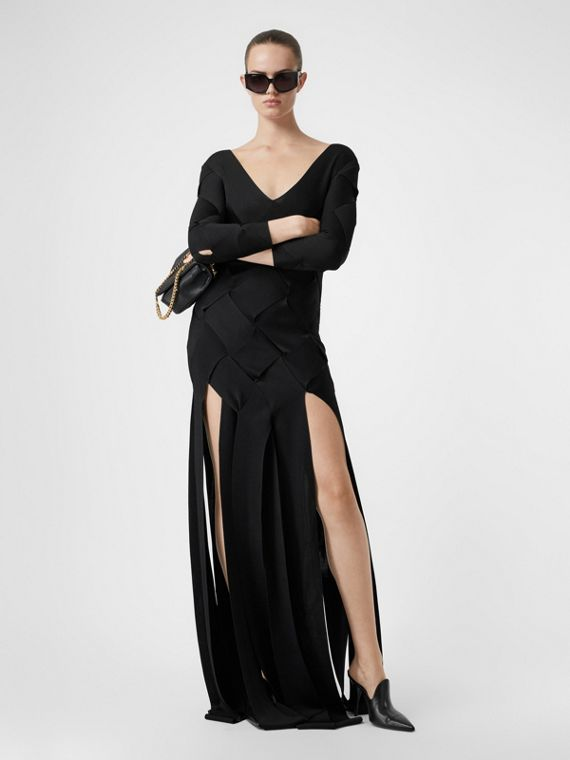 Long-sleeve Panelled Knit Gown in Black