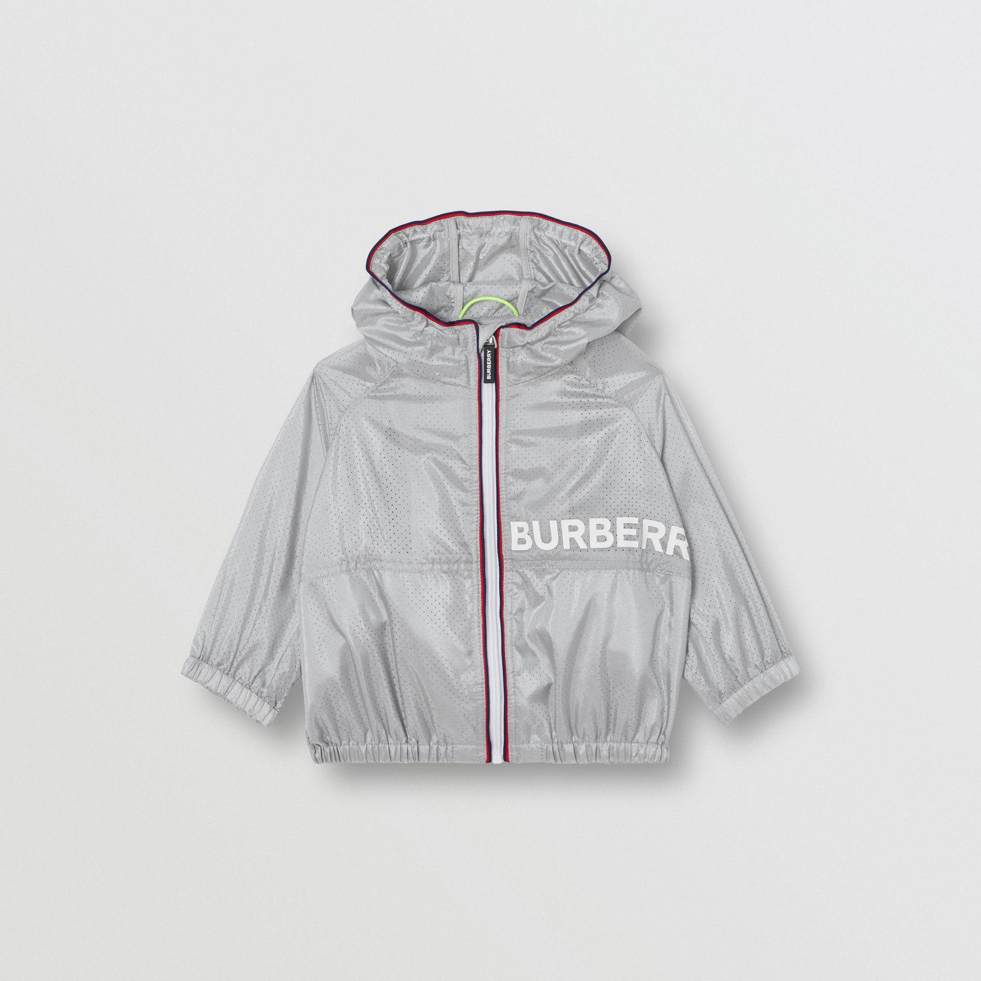 Logo Print Perforated Hooded Jacket in Silver - Children | Burberry - gallery image 0