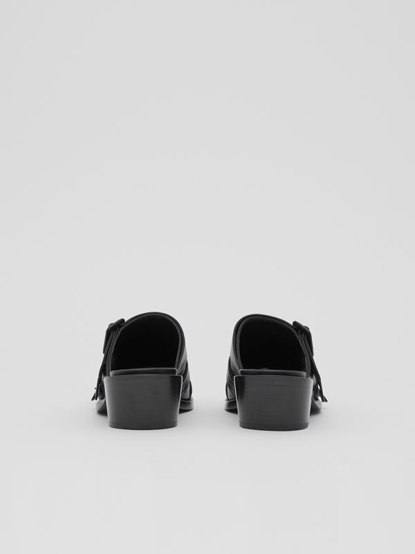 Buckled Leather Peep-toe Mules in Black - Women | Burberry Australia - cell image 3