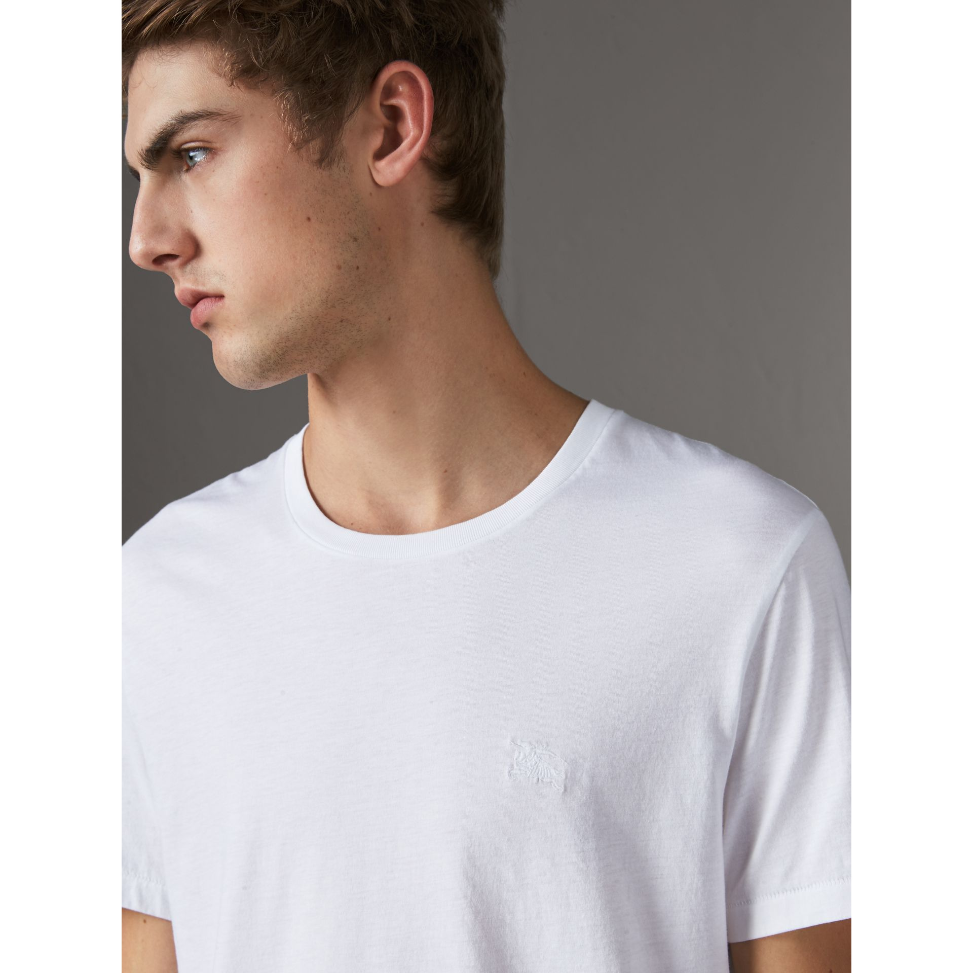 Cotton Jersey T-shirt in White - Men | Burberry Australia - gallery image 1