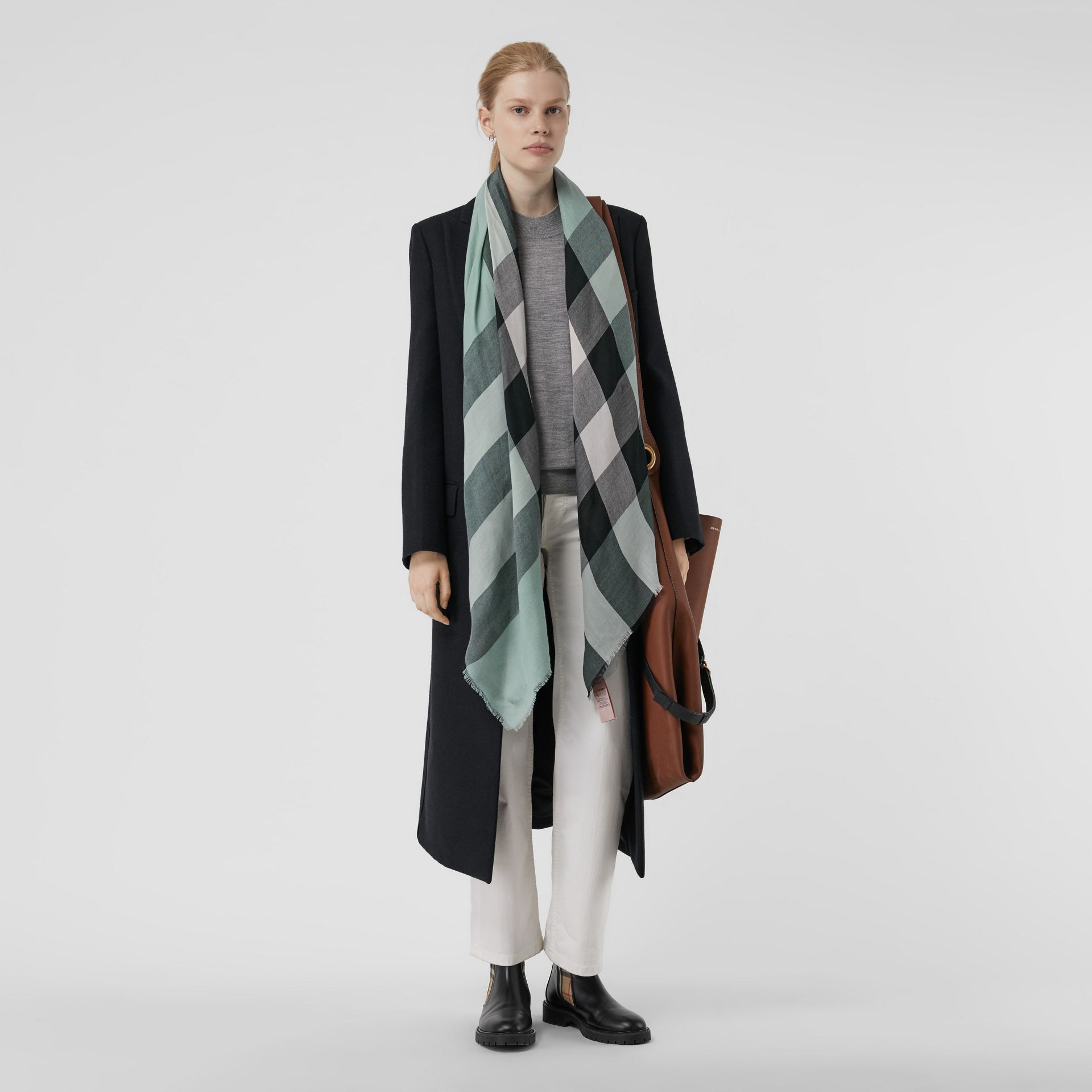 Lightweight Check Cashmere Scarf in Dusty Mint | Burberry United Kingdom - gallery image 2