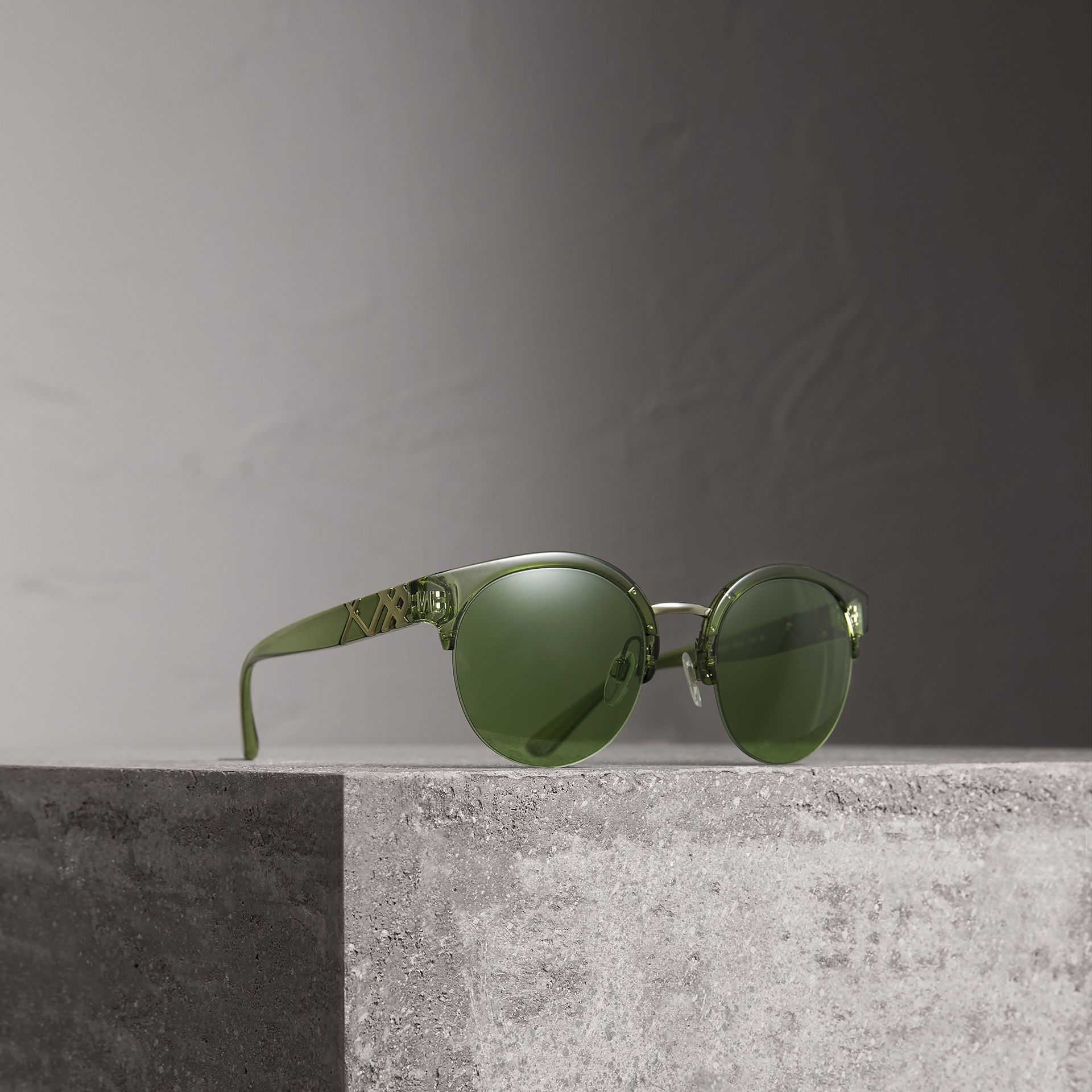 Check Detail Round Half-frame Sunglasses in Smokey Green - Women | Burberry - gallery image 0
