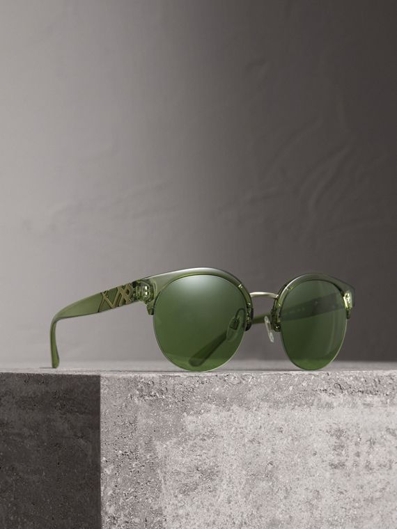Check Detail Round Half-frame Sunglasses in Smokey Green